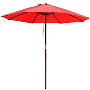 8ft Wooden Umbrella Wood Pole Outdoor Garden Yard Patio Beach Market Cafe 8 Red by Generic Brand