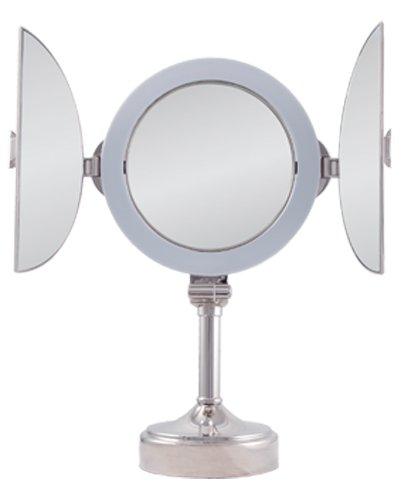 Vanity Mirror Lighted Magnifying : Zadro Polished Nickel Surround Light Dimmable Dual Sided Tri Fold Vanity Mirror, 10X / 1X ...