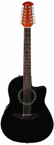 Applause By Ovation Ab2412-5 Balladeer 12 String Mid Depth Bowl Acoustic-Electric Guitar, Black