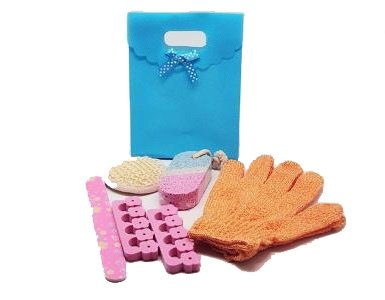 5 piece beauty set in a Turquoise blue tab top box gift bag (exfoliating gloves, pumice stone, emery board, toe seperator & facial sisal pad) - beauty