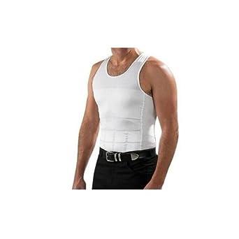 neuf Confortable hommes Homme Body Shaper gilet amincissant la chemise (S, Blanc)