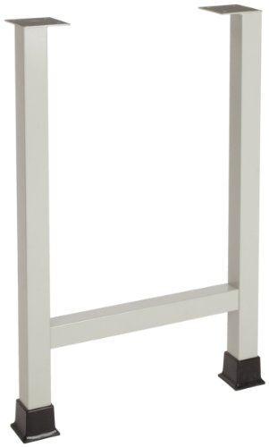 """Looped Logic LL3522FH-S Dual Flanged 35"""" Tall Table Leg, Shadow Gray, With Chemical Resistant Powder Coated Finish"""