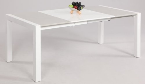 Gina Collection GINA-DT-T Contemporary Lacquer Parson Extendable Dining Table Top - Gloss White-Gray