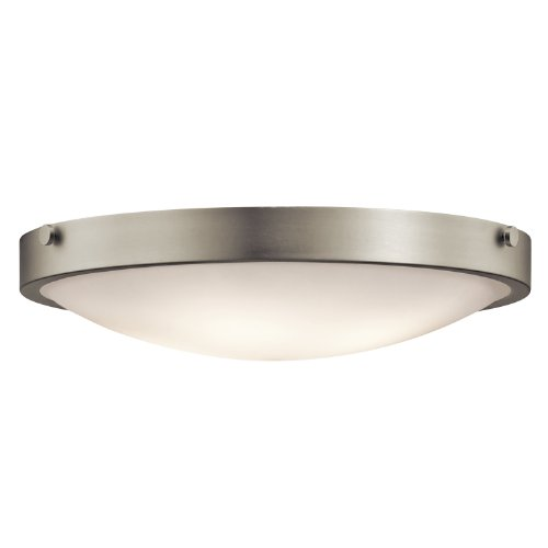 B008F9YX5G Kichler Lighting 42276NI Lytham 4-Light Flush Mount, Brushed Nickel Finish with Satin Etched White Glass