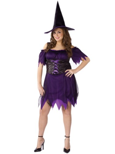 Plus Size Witch Costume Sexy Theatre Costumes Purple Dress with Witch Hat