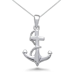 Sterling Silver Anchor Pendant Necklace, 16IN