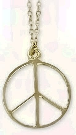 Peace Signs Shaped Necklace And Pendant Set Gold Tone 15/8""