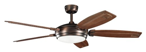 B00AJOW7L2 Kichler Lighting 300156OBB Trevor 60-Inch Ceiling Fan, Oil Brushed Bronze Finish with Walnut Stained Solid Wood Blades and Integrated Light Kit