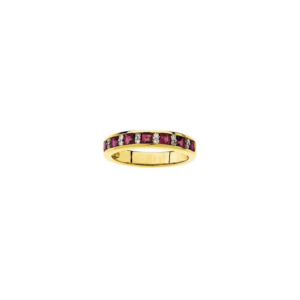 1 Carat Ruby Diamond 14k Yellow Gold Anniversary Wedding Ring