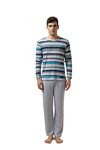 Suntasty Men's Sleepwear Lounge Set Long Sleeve Pajamas Pants with Knit Top