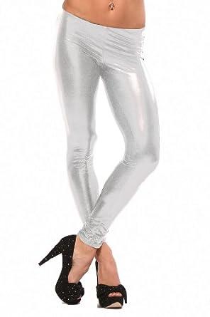 "LATEX METALLIC LEGGINGS WET LOOK PUNK SHINY FAUX LIQUID "" LEATHER "" CELEB PANTS"