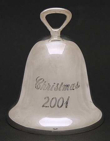 Reed and Barton Annual Christmas Silver Plated Bell Ornament 2001