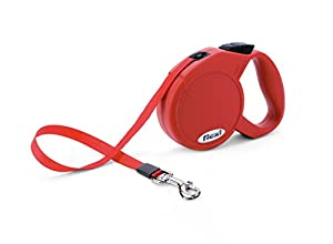 flexi Durabelt Retractable Belt Dog Leash: Extra Small, 10 Feet Long, Supports up to 26 Pounds, Red