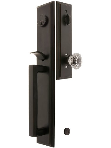 """Melrose Style Tubular Handleset In Oil Rubbed Bronze With Astoria Knobs And 2 3/4"""" Backset. Antique Handles. front-702370"""