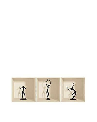 Ambiance Live Vinile Decorativo 3 pezzi 3D Effect dancing figures (Reusable)