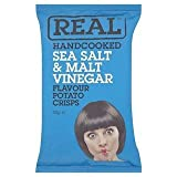 Real Handcooked Sea Salt & Malt Vinegar Flavour Potato Crisps 50g x Case of 18