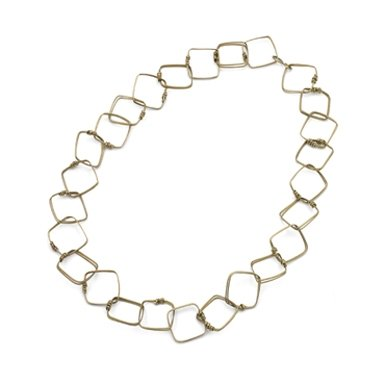 Square Link Brass Necklace||RF10F