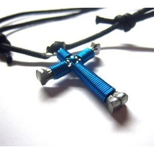 Peacock Blue Horseshoe Nail Cross Necklace
