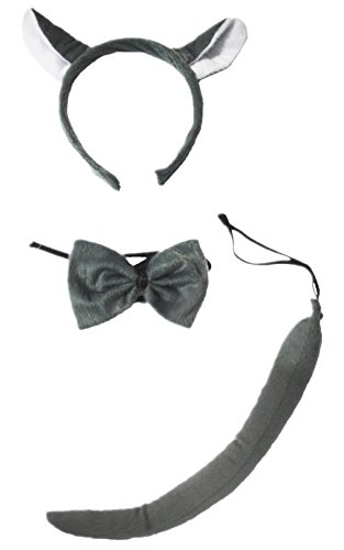 Grey Wolf Headband Bowtie Tail 3pc Costume for Children Halloween School Party