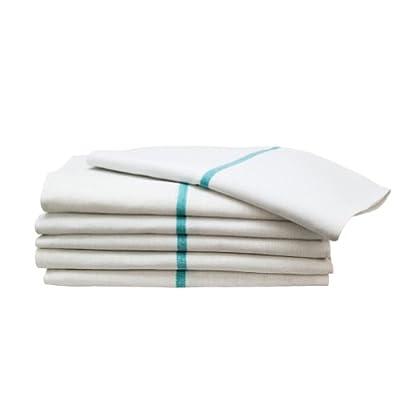 "12 Green Stripe Herringbone Shaving 15"" x 26"" Barber Shop Hot Shave Face Towels"