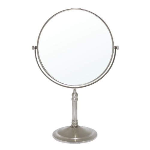 Modona Ctm01-A-N 8-Inch Two-Sided 1X And 5X Tabletop Vanity Mirror, Made Of Brass Satin Nickel front-57473