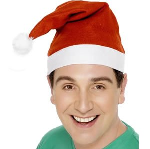 Economy Red Santa Hat Adult (As Shown;One Size)