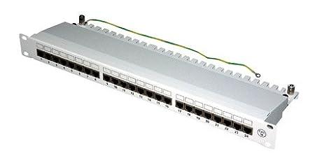 """TPFNet Premium Quality Panneau de brassage Cat.6 - Patch panel - Patchfeld - Panneau de raccordement - tableau de connexions avec des terminaux LSA - Cat 6, 24 Port 19"""" / 1U - pour la connexion du câble d'installation réseau - gris RAL 7"""