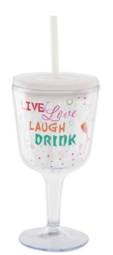 Insulated Wine Glass With Straw front-450663