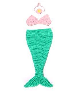 Winglife Newborn Baby Girl Crochet Mermaid Three-piece Outfit Set Costume Photo Prop