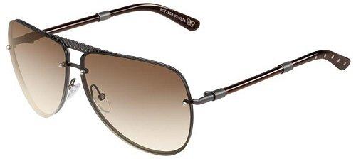 Bottega Veneta 129 Dark Olive Green Frame/Brown Gradient Lens Metal Sunglasses