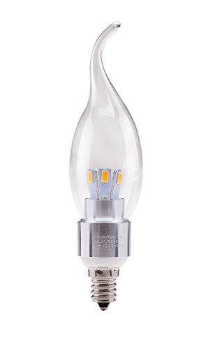 Hyperikon® Led Candle 3-Watt (30-Watt), Flame Tip Chandelier Bulb, Silver Housing, Candelabra Base (E12), 2300K (Amber Ambiance®), 340°-Beam Angle, Dimmable, Ul-Listed