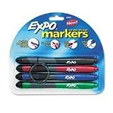 Expo Dry Erase Marker with Grip and Eraser, Ultra Fine Tip, 4 Asst Colors/Set SAN80892