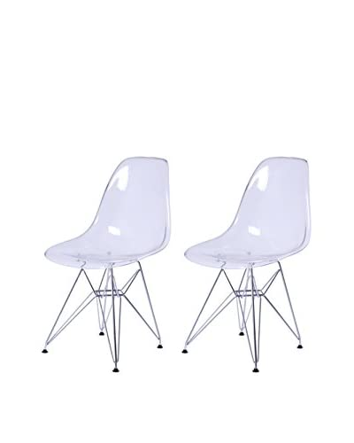 Manhattan Living Gloss Wire Dining Side Chair, Clear
