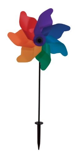 In the Breeze Rainbow Poly Petal Pinwheel Spinner, 12-Inch - 1