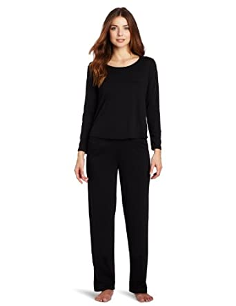 Dearfoams Women's Scoop Neck Pajama Set, Tap Shoe Black, X-Large