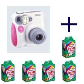 Fujifilm Instax Mini 7S Instant Film Camera (Pink) + 100 Prints - 5 Twin Packs of Film
