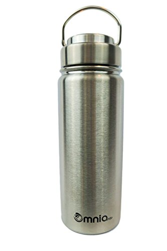 Omnia h2o Canteen -18oz Vacuum Insulated Stainless Steel Water Bottle - Wide Mouth Flask with All Metal Lid - Enjoy Hot and Cold Drinks in this Sweatproof Water Bottle (Pebble Beach) (Metal Pouring Container compare prices)