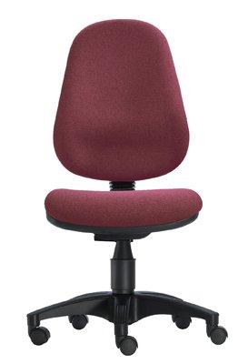 1000 Stühle Wannensitz-Bürodrehstuhl, Sitz BxTxH 450x440x430-530 mm, Hochlehner, Gestell schwarz, Bezug bordeaux