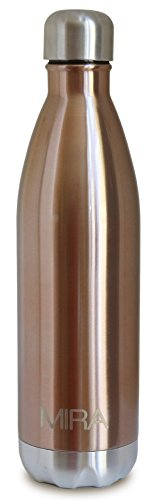 MIRA Insulated Water Bottle, Double Wall Vacuum Stainless Steel Water Bottle, 25 oz, Cola Shape, No sweating, Keeps Cold, Hot, Rose (Hot Water Bottle Rose compare prices)