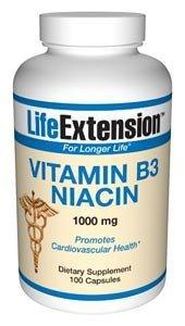 Life Extension Vitamin B3 Niacin | 1000 mg 100 capsules ( Multi-Pack)