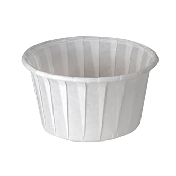 SOLO 400-2050 4-oz. White Treated Paper Pleated Soufflé Portion Cup (20 Packs of 250 Cups)