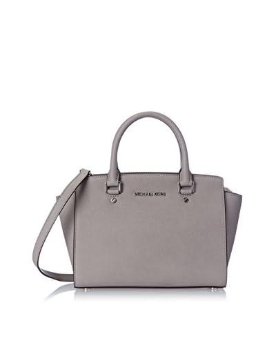 MICHAEL Michael Kors Women's Selma Medium Saffiano Leather Satchel, Pearl Grey