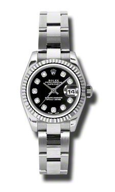Rolex Datejust Black Diamond Dial Oyster Bracelet 18kt White Gold Bezel Ladies Watch 179174BKDO from Rolex