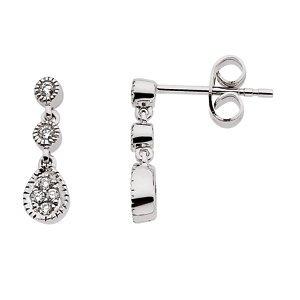 Genuine IceCarats Designer Jewelry Gift 14K White Gold Diamond Earring. 1/8 Ct Tw Pair Diamond Earrings In 14K White Gold