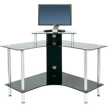 PC004 SCB - Small Corner Black Glass Computer Desk