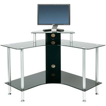 PC004 SCB - Small Corner Black Glass Computer Desk