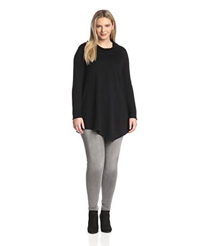 Cashmere Addiction Plus Women's Asymmetric Cowl Sweater