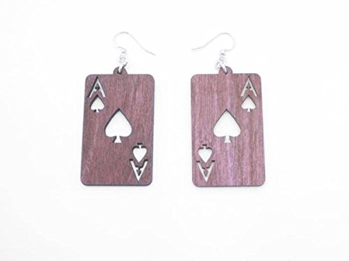 Pink Ace Of Spades Card Wooden Earrings