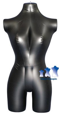 Inflatable Mannequin, Female 3/4 form, Black