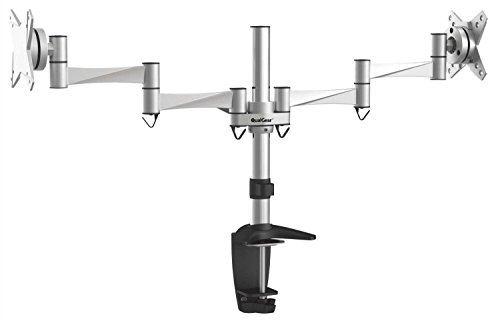 QualGear QG-DM-02-016 3 Way Articulating Dual Desk Mount for 13-27 Inches Flatpanel Monitors, Silver (Panel Mount Monitor compare prices)